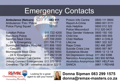 Emergency number postcard in JPEG