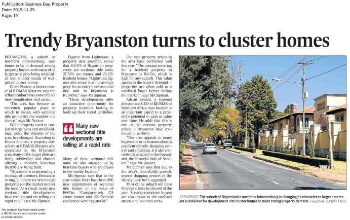 Trendy Bryanston turns to cluster homes - Business Day 25 Nov 2015